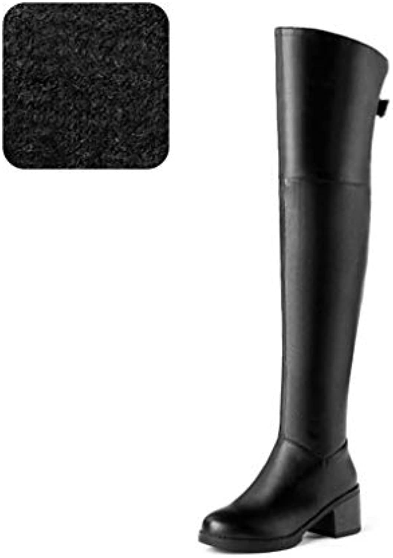 6cc1d9548bd97 HAOLIEQUAN WoHommes Thigh High Boots Winter Warm Shoes WoFemme Heel Fashion  Zipper High Heel Boots Square Heel WoFemme Zipper Shoes.
