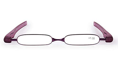 JSHFD Lesebrille Leser 360 Grad Drehbare Klapp Lesebrille for Männer Und Frauen Licht Tragbare HD Harz Objektiv Federscharniere (Color : Purple, Size : 2.5)