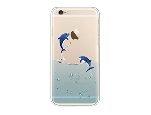 YiFeng Coque en silicone transparent pour iPhone 6/6s Motif animal, Silicone, Flying Dolphin, iPhone 6 Plus / 6s Plus