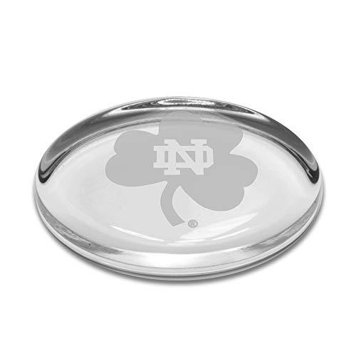University Glass NCAA Notre Dame Fighting Irish Shamrock Logo Oval Paperweight, Clear, One Size