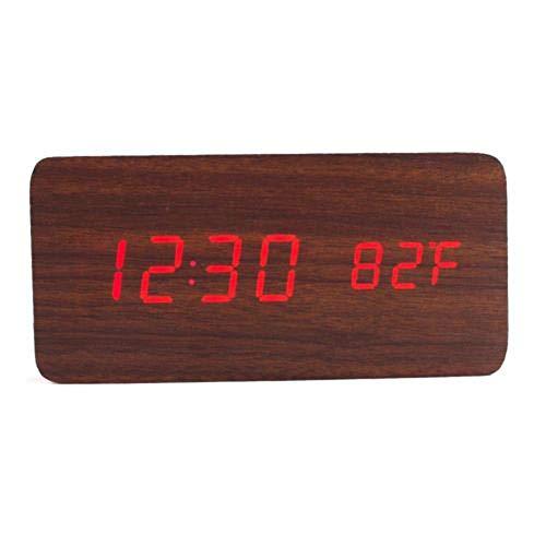 Dtuta Tischuhren Wecker Retro Holz Led-Stimme Digital Kalender Thermometer USB Schnittstelle