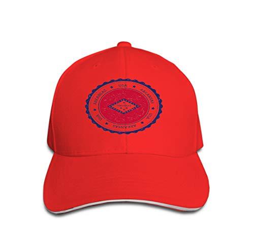 Adjustable Hat Baseball Flat Bottom Cap Arkansas Flag Badge Grunge Rubber Stamp Vintage travel Stamp Circular Text Stars usa State Inside -
