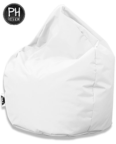 Patchhome Sitzsack Tropfenform Weiß für In & Outdoor XXL 420 Liter - mit Styropor Füllung in 25 Versch. Farben und 3 Größen
