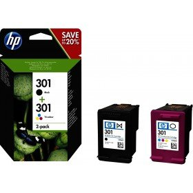 HP 301 - Pack de ahorro de 2 cartuchos de tinta original HP 301 negro/Tri-color