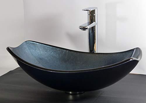 Aufsatz Glas Waschbecken oval eckig blau grau Waschtisch -