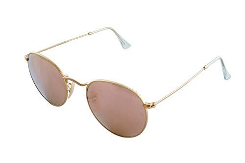 Ray-Ban Unisex Rund Sonnenbrille Rb3447, Gold (Gestell: Gold, Gläser: Kupfer Flash 112/Z2), Gr. Medium (Herstellergröße: 50)