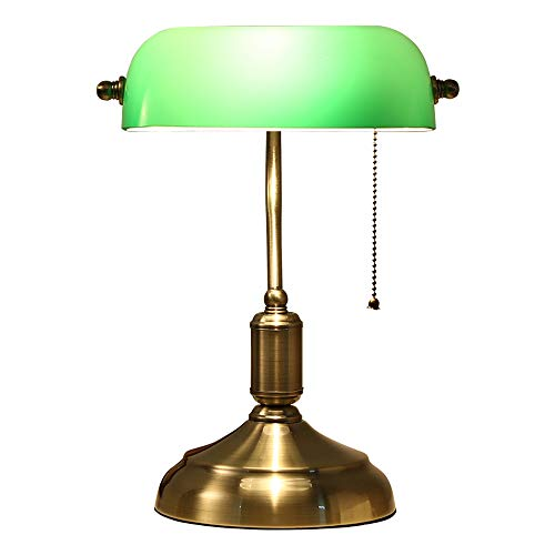 Antike Bronze Tischlampe Traditionelle Tischlampen Lesen Licht Grünes Glas Einstellbare Aufgabe Schreibtischlampe Messing Metall Lampe Körper Desktop-Licht - Glas-antike Bronze Ein Licht