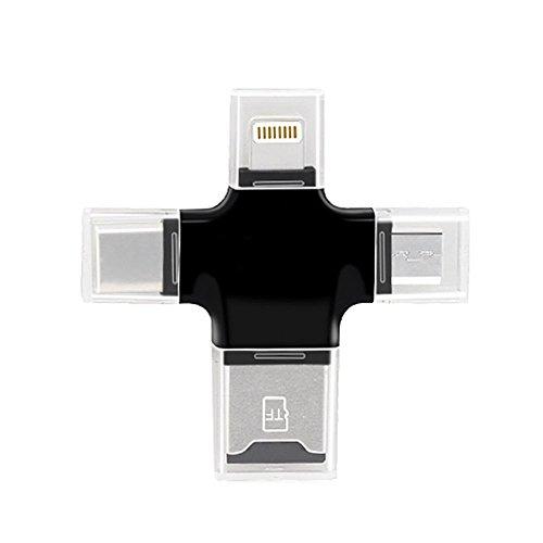 4en 1Lecteur de carte mémoire avec Lightning USB et Micro-USB et connecteur Type C pour iPhone pour iPad pour téléphones Android Type-C pour Mac pour PC pour carte mémoire TF carte micro SD Carte de stockage externe bâton noir