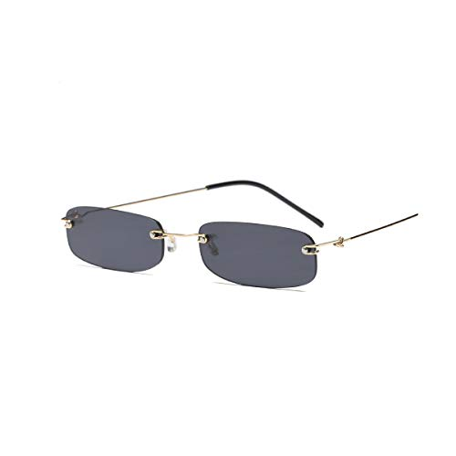 DYFDHA Sonnenbrillen Narrow Sunglasses Men Rimless Summer NEW Red Blue Black Rectangular Sun Glasses For Women Small Face Hot Selling as show in photo gold with black