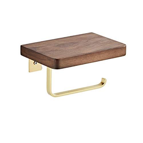 Rollenpapierhalter für Toilettenpapierhalter 2 Funktion Cloud Storage Phone, Holz Gold Finish Wandhalterung Küche / Bad