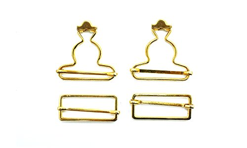 Hosenträgerschnallen-Set aus Metall, mitrechteckigen Schließen für Träger, Gurteund Halterungen von Overalls und Schürzenkleidern, 40 mm, metall, gold, 40 mm Denim Shortall Set