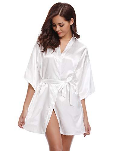 Aibrou Damen Morgenmantel Kimono Satin Kurz Robe Bademantel Nachtwäsche Sleepwear V Ausschnitt mit Gürtel (X-Large, Weiß-Neu) -