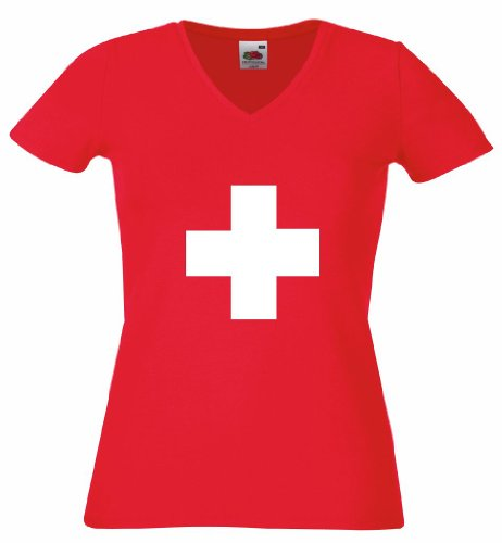 world-of-shirt Damen T-Shirt Schweiz Kreuz Trikot|S