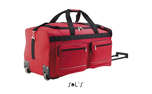 SOL'S Voyager - Sac de voyage à roulettes - valise avec grand compartiment zippé - Rouge - UNIQUE