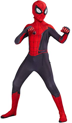 LCXYYY Kids Mädchen Junge Marvel Spider-Man 2019: Far from Home Movie Cosplay Overall Kostüm Halloween Karneval Kostüm Für Kinder Superhero Kostüm Mask+Overall Iron Bodysuit Fasching - Spiderman Kostüm Bodysuit