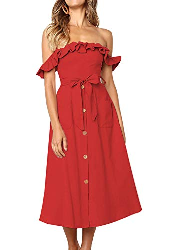 Damen Blumen Maxi Kleid Off Shoulder Abendkleid Strandkleid Party Schulter Kleider (Red XL) ()