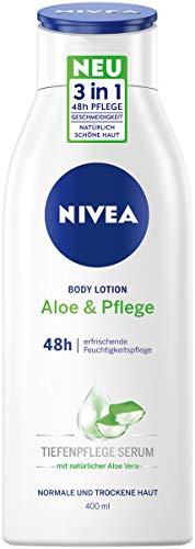 NIVEA Aloe & Pflege Body Lotion (400 ml), Pflege für trockene Haut mit Tiefenpflege Serum und Aloe Vera, 3 in 1 Formel: 48h Pflege, Geschmeidigkeit und natürlich schöne Haut
