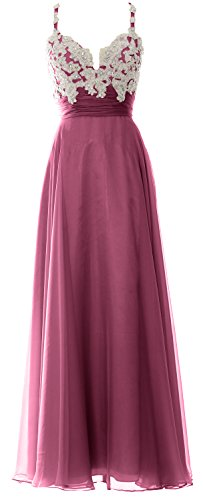 MACloth Women Straps Sweetheart Lace Chiffon Long Prom Dress Formal Evening Gown Weinrot