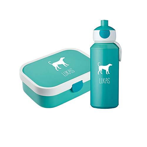 4you Design Set ♡Brotdose & Trinkflasche Hund Silhouette mit Namen♡ Mepal Campus + Bento Box & Gabel ♡Kinder ♡Geburtstag ♡6 Farben (Türkis) (Oster-ideen Kinder Für)