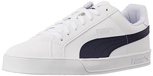 Puma Men's PumaSmashVulc White and Peacoat Sneakers - 8 UK