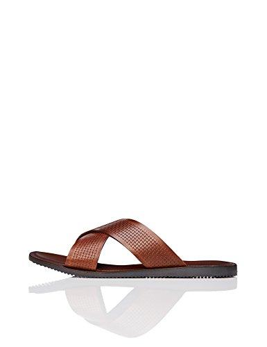 Find. sandali in pelle uomo, marrone (tan), 45 eu