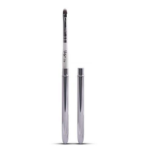 Nanshy Lip Makeup Pinsel mit Deckel besser als einziehbare Verwendung für Lippenstift-Liner Gloss (weißer Griff, Chrom-Silber Cap) vegan ohne Tierversuche