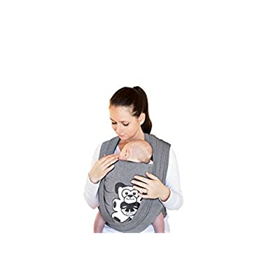 Baby Wrap Sling Carrier Newborn, 95% Cotton/ 5% Spandex Soft Material Baby Wrap Sling, Charcoal Grey - Suitable for Newborn Babies Up to 35 LBS, Perfect Baby Shower Gift, Durable - One Size Fits All  Boba