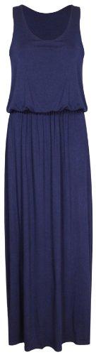 Femmes Uni Sans Manches Femmes Encolure Ronde Extensible Dos Nageur Toge Long Débardeur Jersey Grande Taille Robe Maxi Bleu Marine