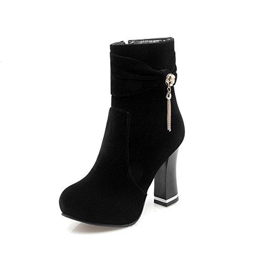 AgooLar Damen Reißverschluss Blockabsatz Mattglasbirne Rein Stiefel mit Schleife, Schwarz, 36