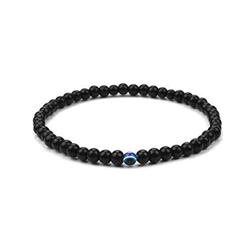 VIccoo Naturstein blau Evil Eye männlich Armband schwarzer Onyx Vulkan Matte Perlen Schmuck