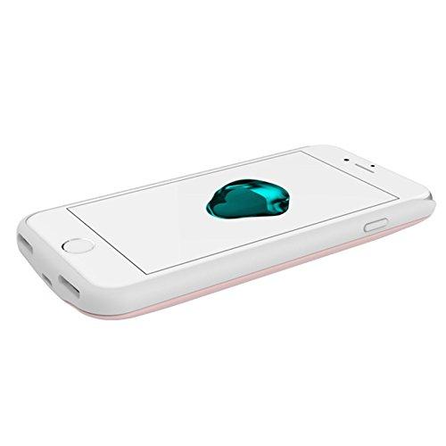 FindaGift Batterie Charger Li-Polymer Akku Hülle iPhone 7 Lademöglichkeit Bettary Hülle Deckel Schalen Gehäuse Battery Cover Protector Akku Taschen Schutzhülle für iPhone 7 - Rose Gold Silber