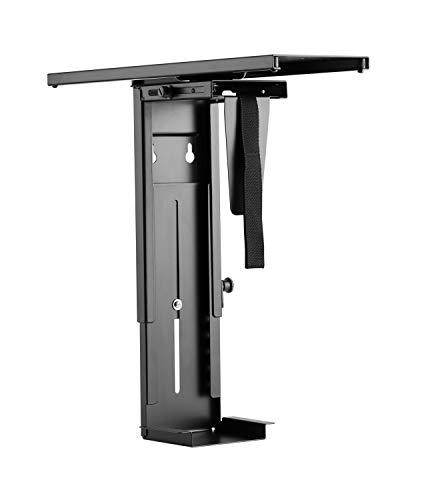 RICOO Rechnerhalter Computerhalterung TRH-05 Lift Tischhalter Tischhalterung Gehäusehalter Untertischhalterung Vertikal/Schwarz Ausziehbar Drehbar Flexibel 360 Grad