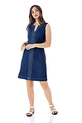 Roman Originals Women Shift Denim Dress - Ladies V-Neck Sleeveless Knee Length Daytime 100% Cotton Jean Style Smock Dresses - Holiday Casual A-Line Pinafore Tunic with Pockets