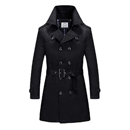 CuteRose Men Double-Breasted Business Outwear Notched Collar Trench Coat Jacket Black XS Breasted Belted Wool Coat
