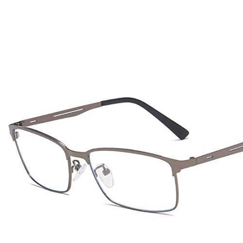 Mkulxina Quadratische Art und Weise Anti-Blaue Metallgläser Nicht verschreibungspflichtige Brillenmännerfrauen (Color : Brass)