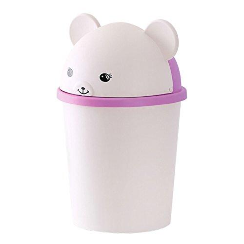 Kleiner runder niedlicher Tierplastikmülleimer mit Schwingdeckel - leichter Tischwäschekorb mit Ring - Badezimmer, Schlafzimmer, Büro (Farbe : Purple)
