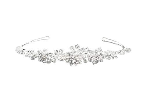 Unbekannt Hochzeit Braut Kristall Tiara Diadem versilbert nickelfrei Strass Krone Silber Haarschmuck Kommunion Haarreif