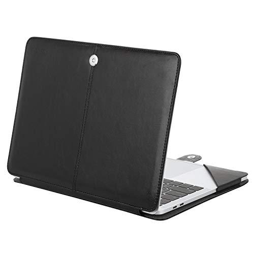 le Kompatibel 2018 MacBook Air 13 A1932 Retina Display / 2018 2017 2016 MacBook Pro 13 A1989/A1706/A1708, Book Folio Schutzhülle Stehhülse mit Klaren Trägern, Schwarz ()