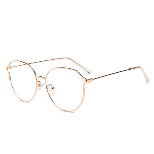 Chengduaijoer Metall Retro Cat Eye Brillengestell Nicht verschreibungspflichtige Brille Männer Frauen (Color : Gold)