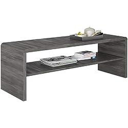 IDIMEX Table Basse LOUNA, Table de Salon rectangulaire ou Meuble TV de 100 cm avec 1 étagère Espace de Rangement Ouvert, en mélaminé décor Bois Gris cendré