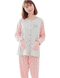 7489ce4b65 GJFeng Pijamas de Primavera y otoño de Las Mujeres Embarazadas patrón de  Dibujos Animados de algodón de Manga Larga Pijamas de…