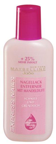 Maybelline Express Nails Nagellackentferner, entfernt selbst hartnäckige Effekt-Lacke gründlich und schnell, Mandelkern-Öl pflegt die Nägel und spendet Feuchtigkeit, mit Aceton, 125 ml -