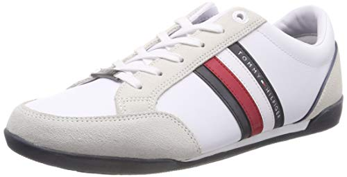 Tommy Hilfiger Herren Corporate Material Mix Cupsole Sneaker, Weiß (White 100), 44 EU (Männer High-top-mode-schuhe)