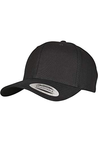 Flexfit Kappe 6-Panel Curved Metal Snap, black, One Size, 7708MS - Curved Fabric