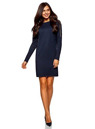 Geprägte Schulter Tasche (oodji Collection Damen Jerseykleid mit Zierreißverschlüssen auf den Schultern, Blau, DE 44 / EU 46 / XXL)