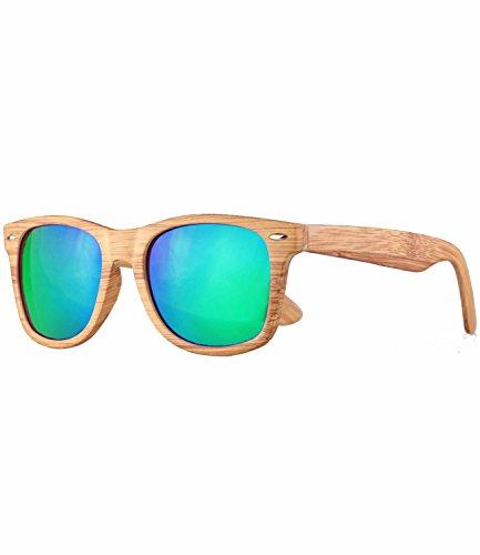 Caripe Retro Nerd Vintage Sonnenbrille verspiegelt Damen Herren 80er - SP (Holzoptik Natur - blaugrün verspiegelt)