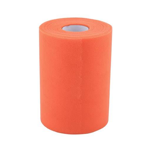 ZCHXD Polyester Family Wedding Dress Tutu Gift Decor DIY Craft Tulle Spool Roll 6 Inch x 100 Yards Dark Orange -