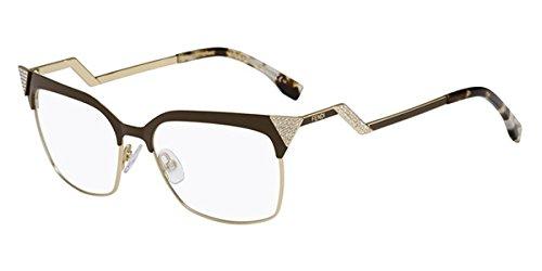 Fendi montatura di occhiali 0061per donna black/ruthenium mtc: brown/gold