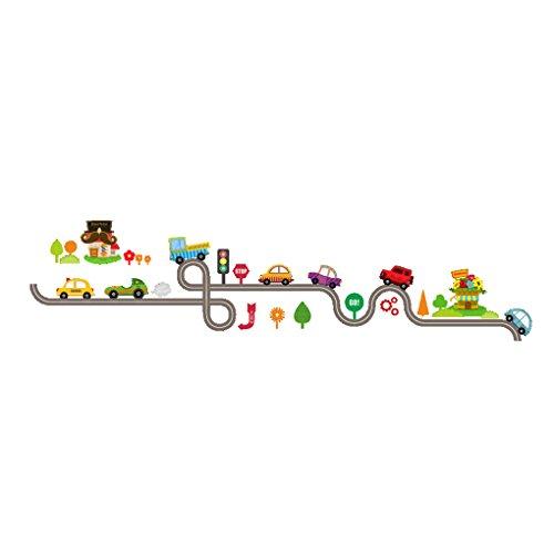 LUFADIY Karikatur-Autos-langer Straßen-Wand-Aufkleber-entfernbares Hauptschule-Kunst-Dekor für Baby-Kind-Raum-Dekoration (Kinder-wand-dekor)