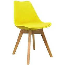 Silla Nórdica - Silla escandinava Amarilla con patas de madera